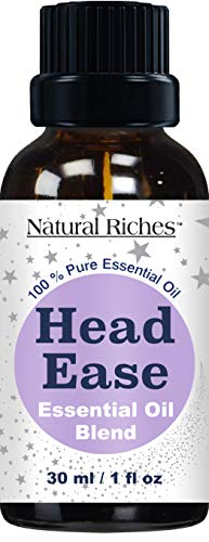 Migraine & Headache Pain Relief Essential Oil blend - 30ml Therapeutic Grade for Head Ease Aromatherapy Contains Lavender, Peppermint, Rosemary, Wintergreen, Marjoram and Frankincense essential oils. (Best Pain Relief For Migraine Headaches)