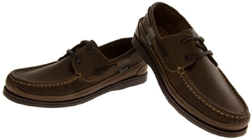 Mens Leather HELMSMAN Lace Up Boat Loafers Formal Moccasin Sailing Deck Shoes Dark Brown GnVE3ukgN