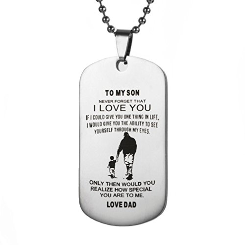 Price comparison product image iLH® ZYooh Dog Tag Necklace and Key Ring Remember You Are Braver Than You Believe Jewelry Dad Mom To Son Daughter (A)