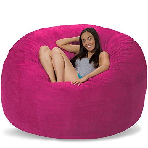 Comfy Sacks 6 ft Memory Foam Bean Bag Chair, Magenta Micro Suede ()