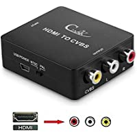 Cingk 1080p HDMI to RCA CVBS AV Composite Converter Adapter Support PAL/NTSC with USB Supply Cable for PC Notebook laptop PS3 TV STB VHS VCR