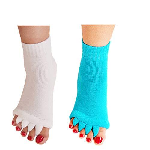 - Minjie Foot Alignment Socks Toe Separator Socks Comfy Toes Alignment Socks Yoga Gym Massage Half Toe Socks for Women men(2 Pairs White+Sky blue )