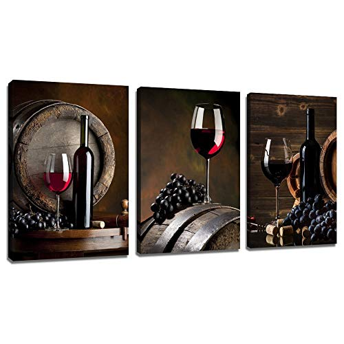 sechars - 3 Piece Canvas Wall Art Red Wine Painting for Wall Decor Grape Pictures Stretched and Framed Vintage Kitchen Decorations Theme Sets (Wall Wine Decor Vintage)
