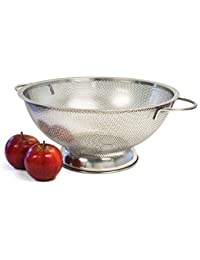 Gain Culina 5QT Finely Perforated Stainless Steel Colander with handle and Large Secure Balance Sheet base Convenient... cheapest