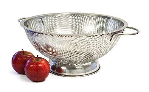 Culina 5QT Finely Perforated Stainless Steel Colander with handle and Large Secure Balance Sheet base Convenient Large Size Durable Quality by Culina by Culina