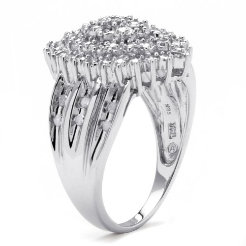 White Diamond Platinum over .925 Silver Marquise Cluster Ring (.35 cttw, HI Color, I3 Clarity) Size 10