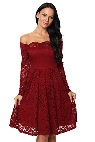 Elegant Women's Luxury Lace Off-The-Shoulder Long Sleeve Formal Dresses Womens Dresses for Women Plus Size Wine Red