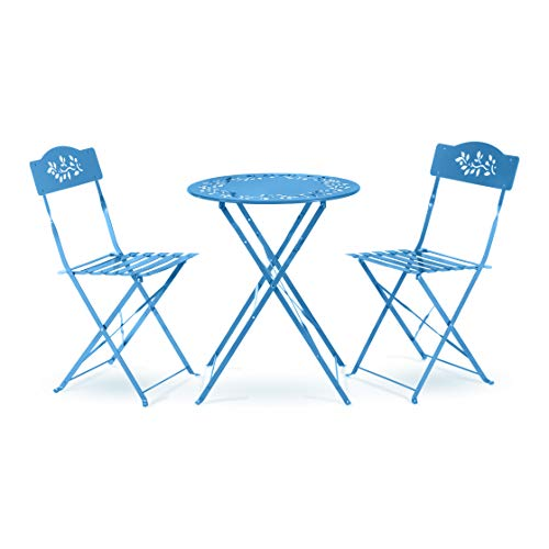 Alpine Corporation 3-Piece Floral Bistro Set - Outdoor Conversation Set for Patio, Yard, Garden - Blue