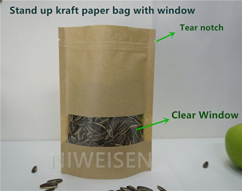 Lavenz 100pcs/lot Brown Stand up Zip Lock Pouches with window Clear view, Resealable Kraft Paper bag 10X15+3cm Grip Self Seal Packaging