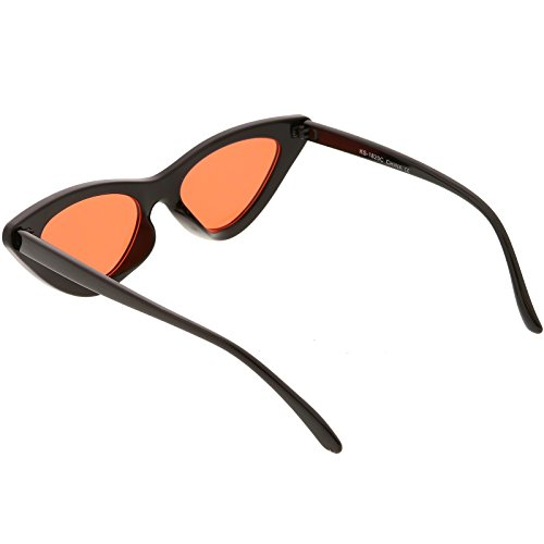 0adb9541f5 zeroUV - Womens Exaggerated Slim Black Frame Color Tinted Lens Cat ...