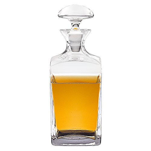 Badash Lead Crystal Decanter - Badash Andre Square European Mouth Blown 34 oz. Scotch or Whiskey Lead Free Crystal Decanter H10.5