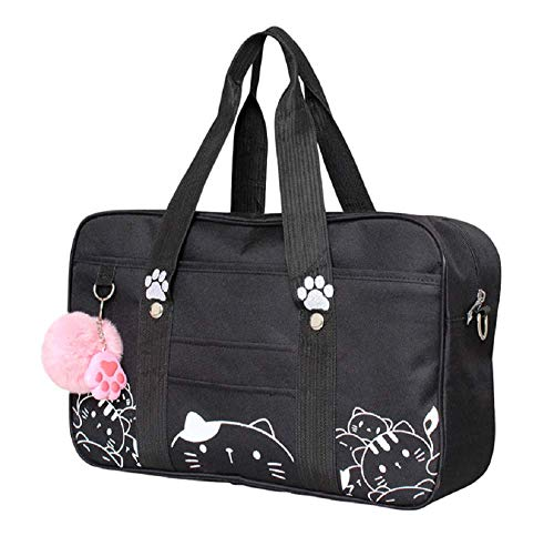 - GK-O Japanese JK Uniform Bag Cute Cat Kawaii Lolita Handbag School Messenger Shoulder Bags (Black)
