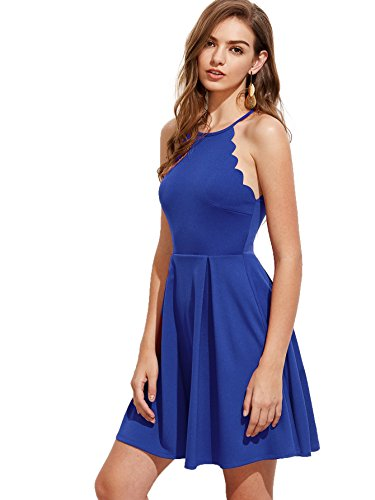 Romwe Women's Sweet Scallop Sleeveless Flared Swing Pleated A-line Skater Dress Blue M -