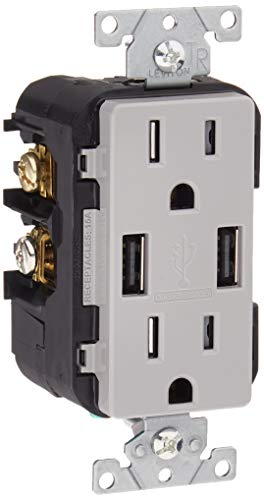 Leviton T5632-GY USB ChargerTamper-Resistant