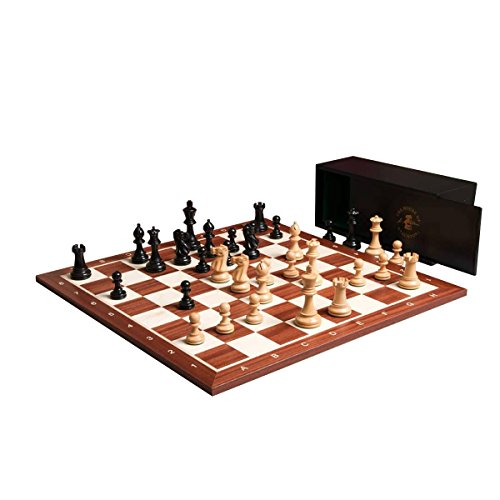 The House of Staunton The Grandmaster Chess set, Box, and Board Combination - Ebonized Boxwood