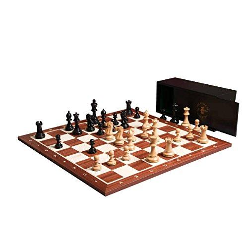 The Grandmaster Chess Set, Box, and Board Combination - Ebonized Boxwood Boxwood Pieces 4' King