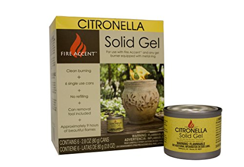 Single Gas Log Lighter (Fire Accent Solid Gel Fuel Canister, Citronella, 2.8-Ounces, Set of 6)