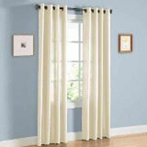 Sillyitems 1 Pc 120″ Long Cream Grommet Faux Silk Panels Window Curtain