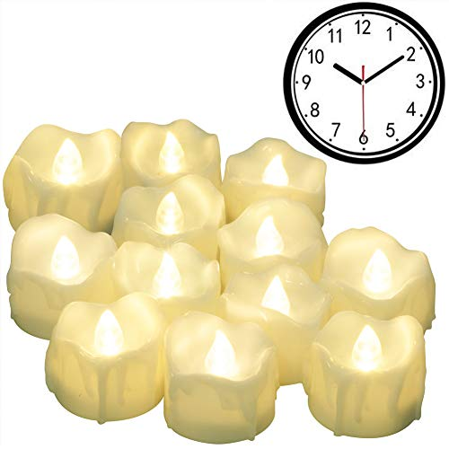 Timer Candles, 12pcs PChero Battery Operated LED Decorative Flameless Candles Flickering Tea Light, 6 Hours On and 18 Hours Off Per Cycle, Perfect for Birthday Wedding Party Home Decor - [Warm White] by PChero (Image #4)