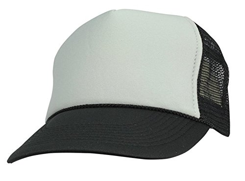 Quality Merchandise QML Trucker Cap Mesh Hat with Solid, Two Tone Colors and Adjustable Snapback Strap and Small Braid (2 Tone, (Foam Mesh Hats)
