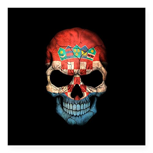 CafePress - Croatian Flag Skull On Black Sticker - Square Bumper Sticker Car Decal, 3
