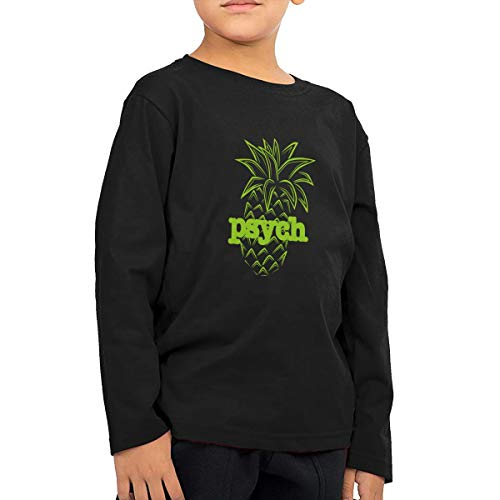 CoolTlong Psych Pineapple Men Girl's Handsome Long Sleeve T-Shirt Classical Tshirt Helpshirt Black ()
