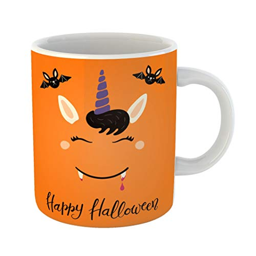 Emvency 11 Ounces Coffee Mug Orange Animal of Cute Funny Vampire Unicorn Face Lettering Quote Happy Halloween Flat Children Baby Bangs White Ceramic Glossy Tea Cup -
