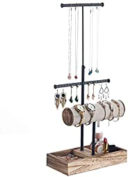 MXARLTR Jewelry Organizer Tree Stand Metal and Wood Basic Large Storage Necklaces T-Bar Bracelets Earrings Hol
