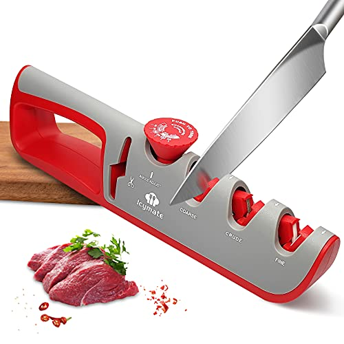 Knife Sharpener, Icymate 4-in-1 Professional Kitchen Sharpener Knife Sharpening Stones Helps Repair, Restore and Polish Blades with Hanging Ring and Non-slip Base Kitchen Accessories for Chef & Home
