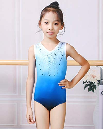 UNICOMIDEA Girls Gymnastics Leotards Diamond Ballet Dance One Piece Outfits Kids Athletic Leotards 5-12 Years