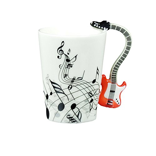 Choholete Porcelain Red Guitar Electric Bass Music Black Note Coffee Cup
