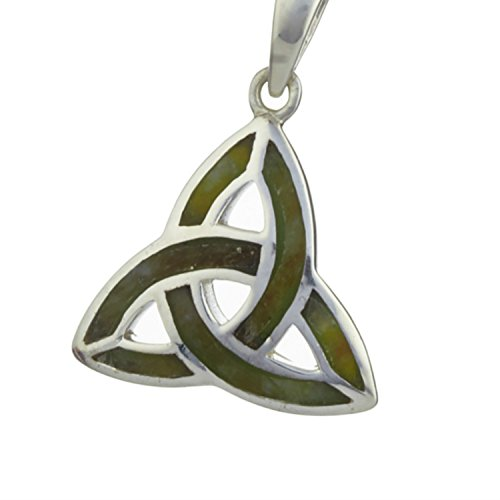 Silver Connemara Marble - Trinity Knot Pendant For Women In Silver And Connemara Marble