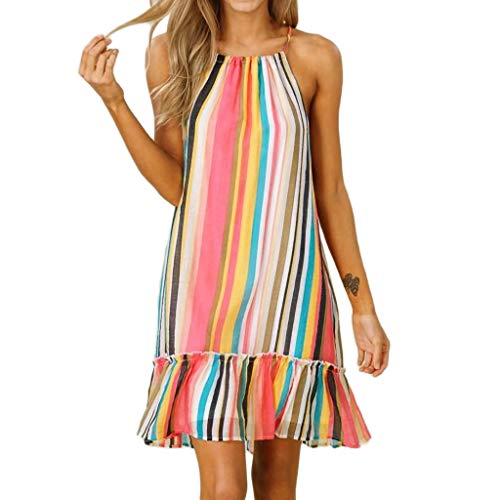 Beihxwe Women Casual Sleeveless Striped Dress, Summer Sexy Cascading Ruffle (S, Multicolor)