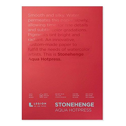 Stonehenge Aqua Watercolor Block L21-SQH140WH710, 7 X 10 Inches, 140 Pound, Hot Press, White, 15 Sheets