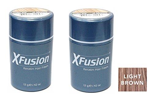 - Xfusion Keratin Hair Fibers,Two Pack Value 2 x 12 gr/0.42 oz LIGHT BROWN