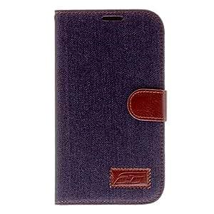 MOFY- Jean Dise–o de cuero de caso completo de cuerpo de la PU para Samsung Galaxy I9200 6.3 Mega , Azul Claro