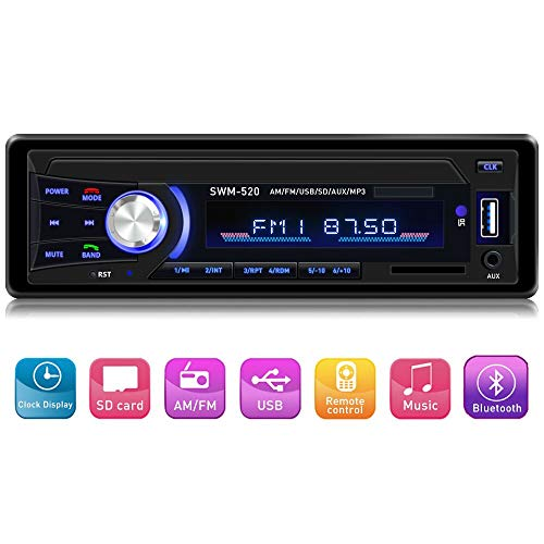 tooth Single din in Dash, AM FM Car Radio Car Audio Support USB, SD Card,AUX in, with Wireless Remote Control ()