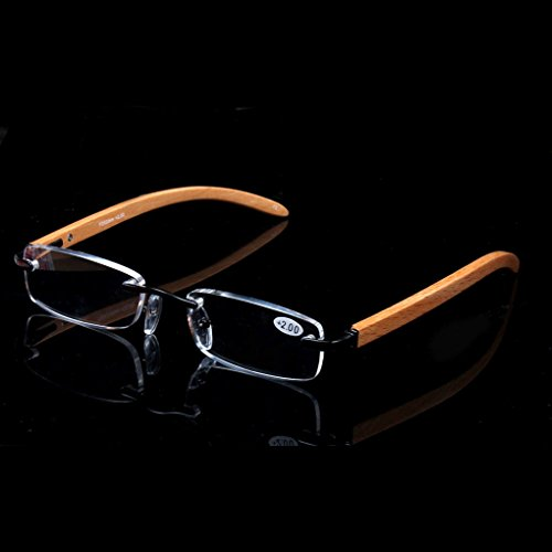 Elderly reading glasses natural wood rimless glasses glasses box visual barrier (3.0) by oudlme (Image #2)