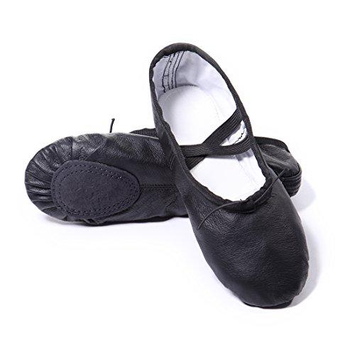 Kinder Frauen Leder Ballerina Schuhe Dance Schwarz und Gymnastic für DoGeek Männer Ballettschuhe Erwachsene Ballettpumpen Schwarz npqfxOSI
