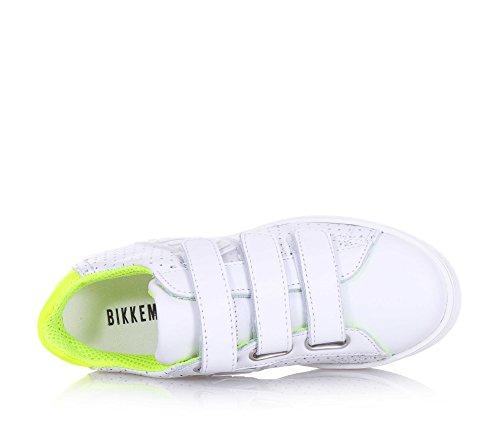 BIKKEMBERGS - Weißer Schuh aus Leder, mit dreifachem Klettverschluss, seitlich Einsätze mit Logo, Unisex Kinder