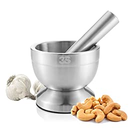 3S Stainless Steel Spice Grinder/Mortar and Pestle Set 44 BEST MANUAL SPICE GRINDER TOOLS-mortar and pestle with heavy duty stainless steel safe and more wearable,Continuous use of up to 10 years. EASY TO CLEAN-no matter grinding,pounding,crushing or something powerful it always standing there without any damage,it easy to wash it with soft towel or fabric. MULTI FUNCTION-There are lots of kitchen and household uses, including turning prescription tablets into a powder, crushing fresh herbs, grinding spices, etc.