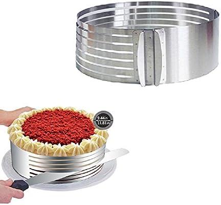 Molde para cortar tartas de trinchar lzndeal plateado, 15/–20/cm ajustable en acero inoxidable