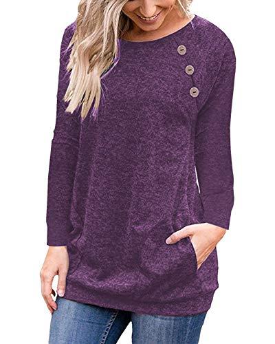 (Loose Casual Tunic Shirts for Leggings for Women Long Sleeve Pullover Sweatshirt Purple XL)