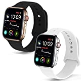 NUKELOLO Sport Band Compatible with Apple Watch 38MM 40MM,Soft Silicone Replacement Strap Compatible for Apple Watch Series 4/3/2/1 [S/M Size in 2 Pack B Color]