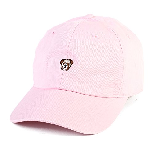 All Star Cotton Cap (Dog Head Embroidered Hat Adjustable Animal Baseball Cap Vintage Cap (Pink))
