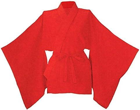 高級半襦袢(女物)-やさしい肌触りの半襦袢 ※赤・黄色・ピンク・水色・白有り L 赤(nmd-8185)