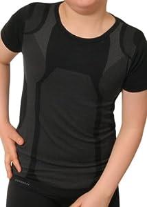 Gomati Kinder Funktions-Kurzarmhemd Seamless schwarz/grau-134-140 (XS)