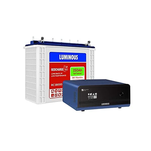 Luminous Zelio+ 1100 Pure Sine Wave Inverter with Red Charge RC 18000 150Ah Tall Tubular Battery for Home, Office… 2021 June Tube Light (40 Watts): 3, Ceiling Fan (90 Watts): 3, LED Television: 1 Sine Wave Technology, 900 VA/12 Volts Capacity, 150 Ah 32 Bit DSP Processor, Maximum Bulb Load: 685 Watt