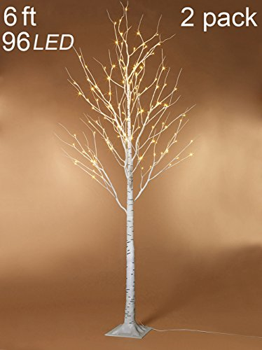 Twinkle Star 6 Feet 96 LED Lighted Birch Tree for Home Wedding Party Indoor Outdoor Christmas Decoration, 2 Pack, Warm White
