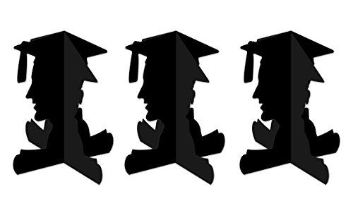 Beistle - Centro de mesa de graduación 3D para niño, 3 piezas, Negro, 1